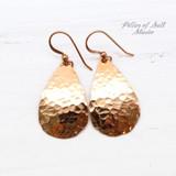bright shiny hammered copper teardrop earrings by Pillar of Salt Studio