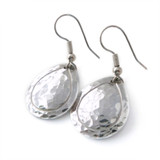 hammered aluminum teardrop earrings