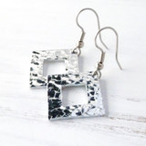 square diamond shaped aluminum hammered earrings