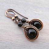 Black Onyx and Copper earrings