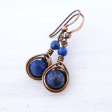 Lapis Lazuli Copper wire wrapped earrings