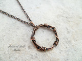 barbed wire circle pendant wire wrapped jewelry by Pillar of Salt Studio