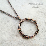barbed wire copper wire wrapped pendant | jewelry by Pillar of Salt Studio