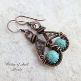 woven wire wrapped copper earrings by Pillar of Salt Studio