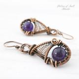 Amethyst woven wire earrings Copper jewelry by Pillar of Salt Studio