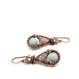 Copper wire wrapped earrings with Amazonite gemstone.