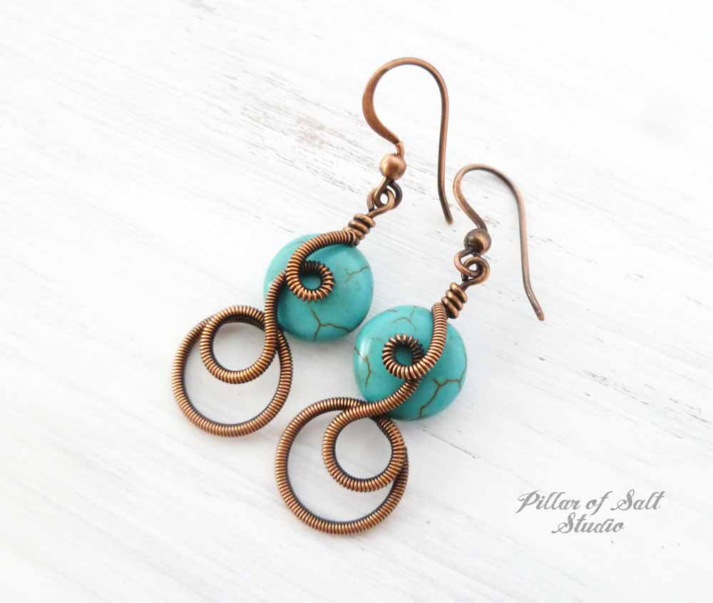 Coiled copper Wire wrapped earrings with turquoise magnesite stones