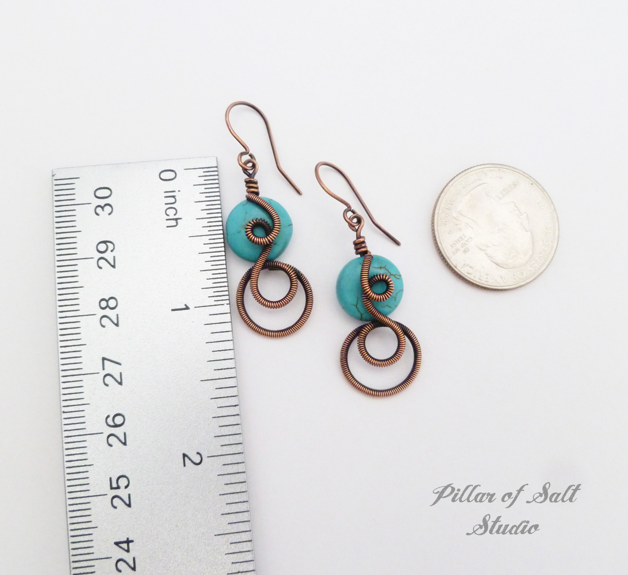 copper wire wrapped earrings / Pillar of Salt Studio
