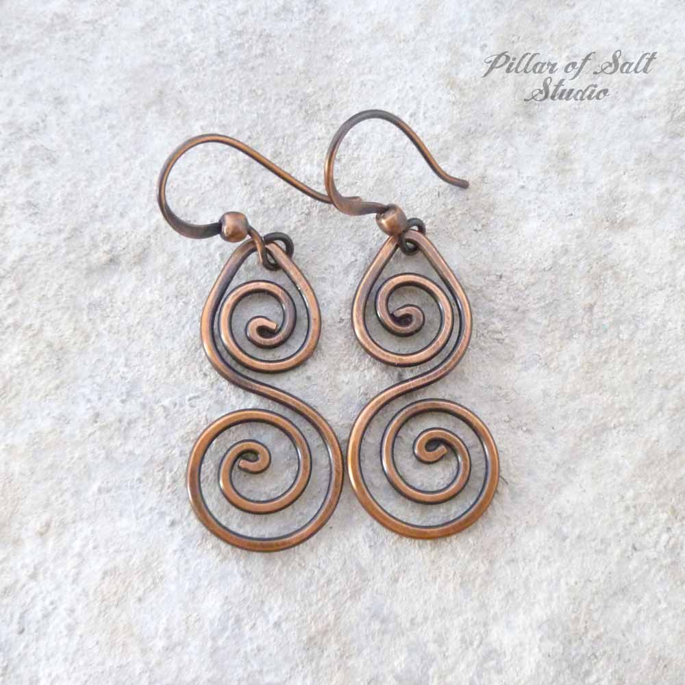 solid copper wire wrapped earrings / handmade jewelry by Pillar of Salt Studio