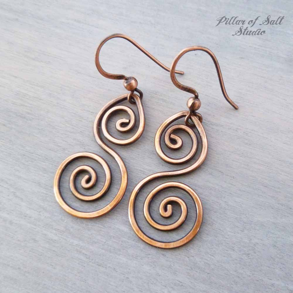 3f3227a1055890 solid copper wire wrapped earrings handmade jewelry by Pillar of Salt  Studio ...