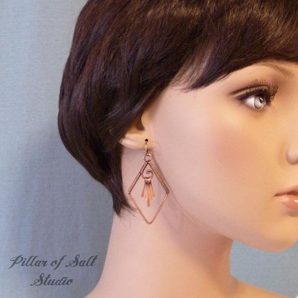 copper fringe wire wrapped earrings Pillar of Salt Studio