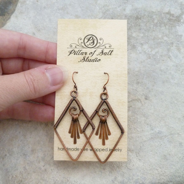 copper fringe wire wrapped earrings Pillar of Salt Studio