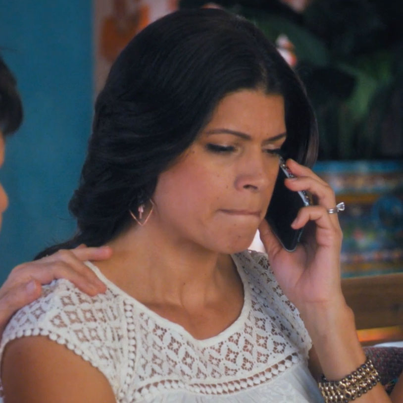 Copper Fringe earrings worn on episode 511 of Jane the Virgin's Andrea Navedo (Xiomara)