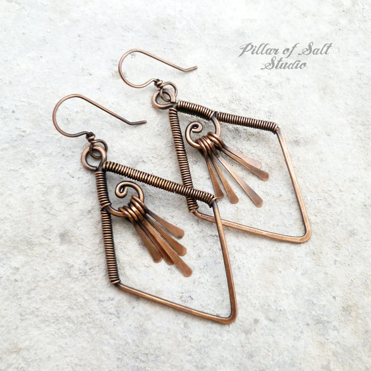 Diamond-shaped wire wrapped copper fringe earrings by Pillar of Salt Studio