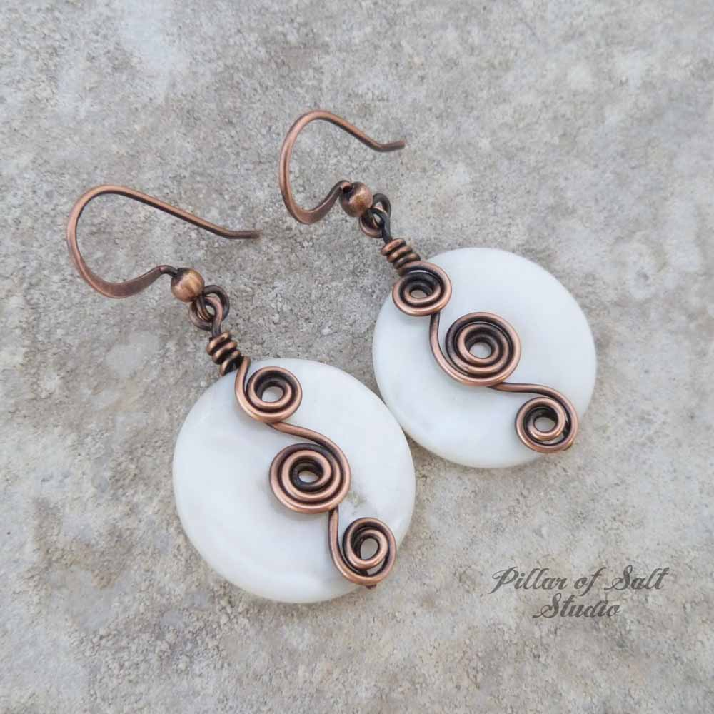 White mother of pearl Curlicue Wire wrapped copper earrings