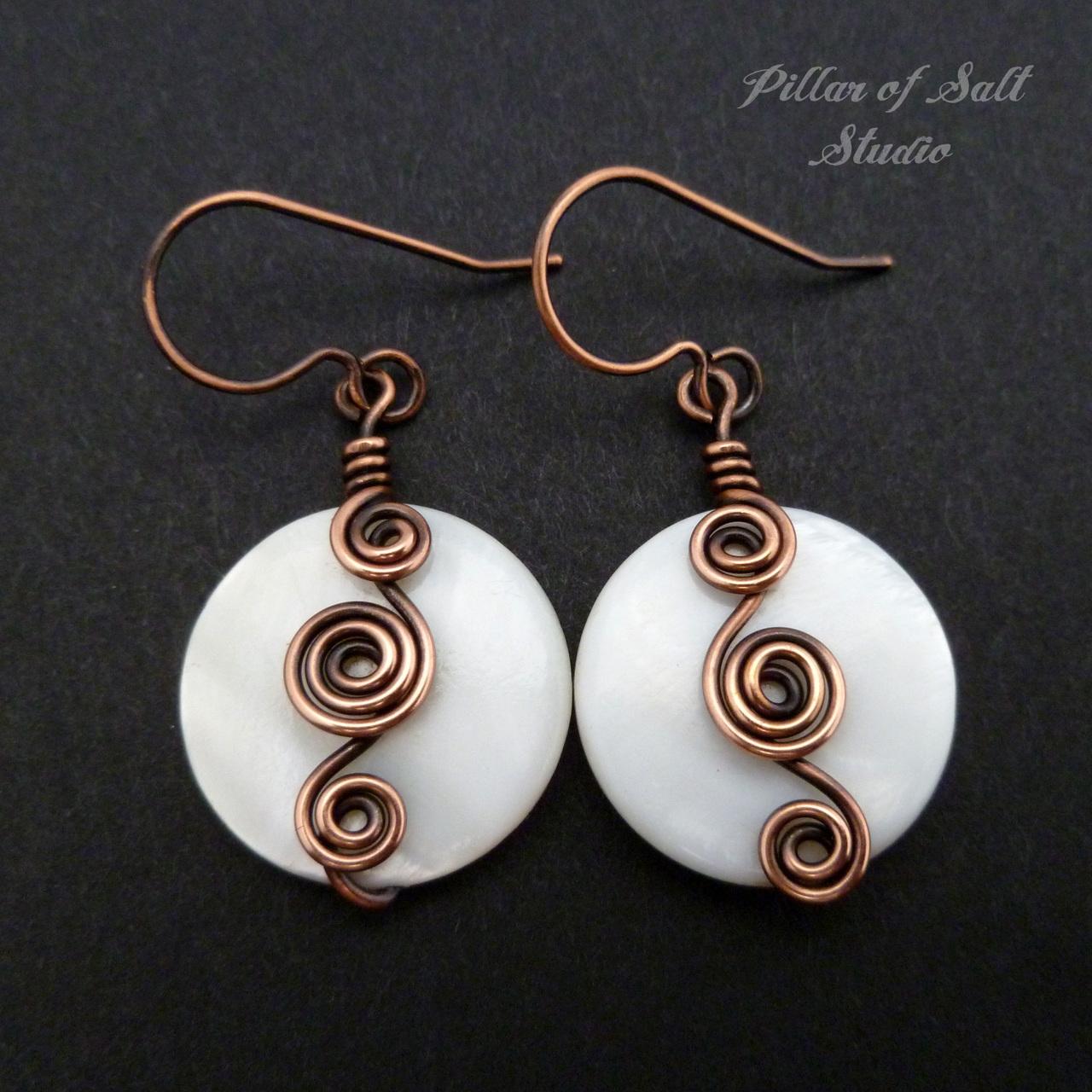 copper wire wrapped earrings jewelry by Pillar of Salt Studio