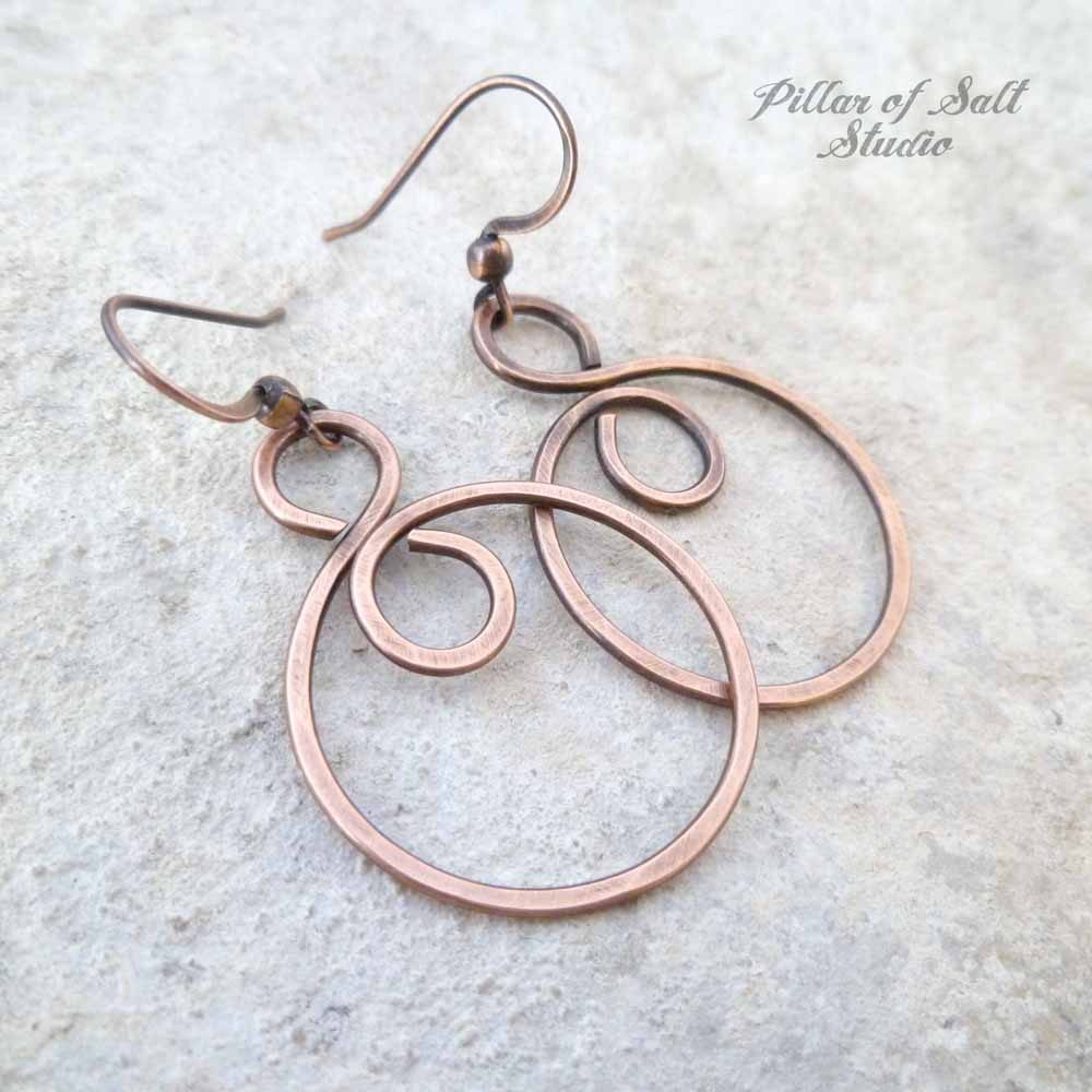 Infinity spiral hoop copper wire earrings