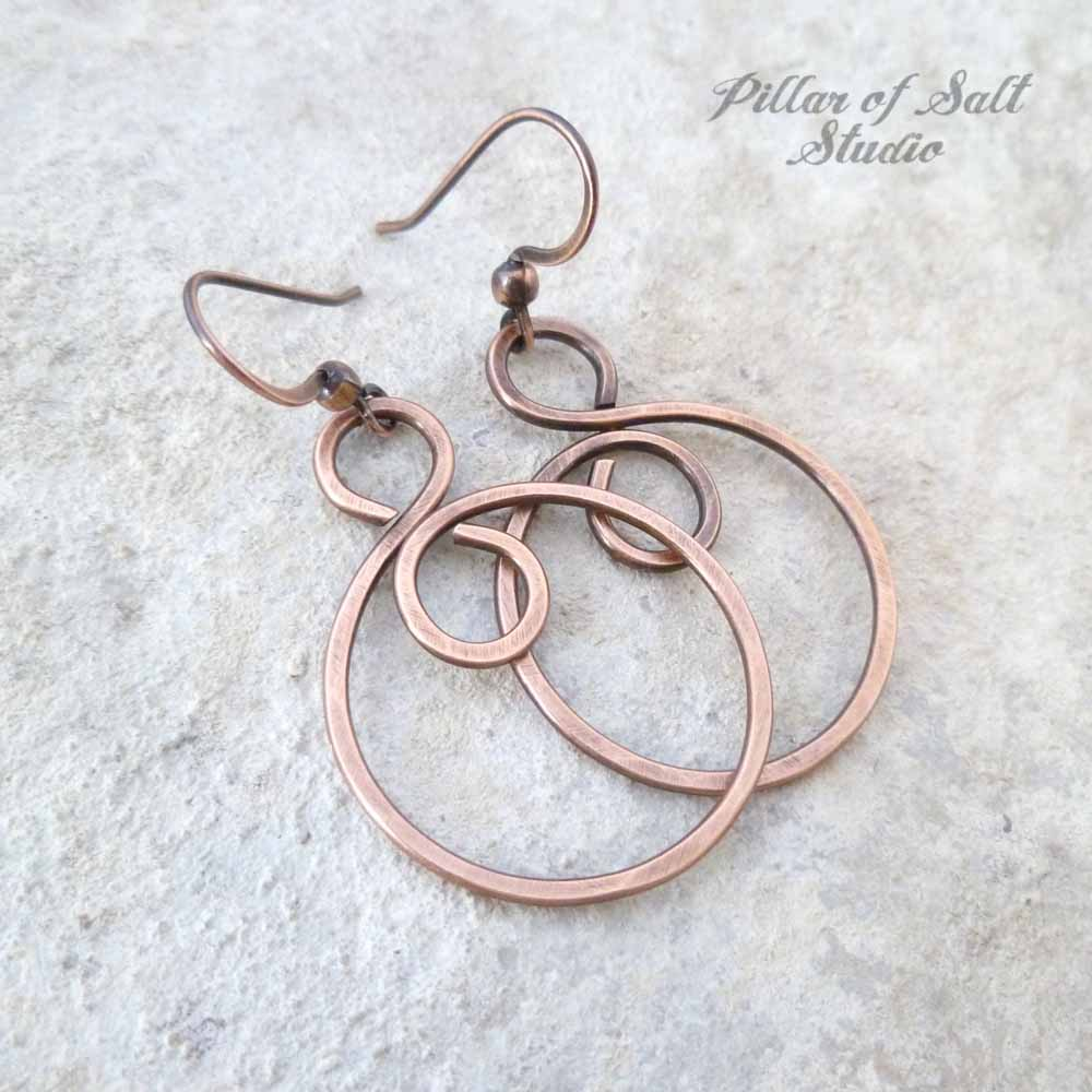 copper infinity hoop spiral earrings by Pillar of Salt Studio