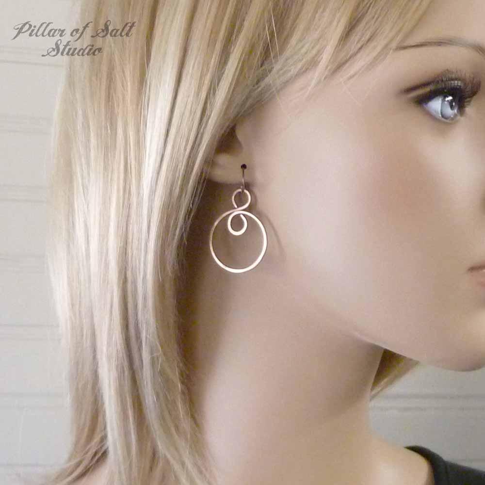 copper hoop earrings by Pillar of Salt Studio