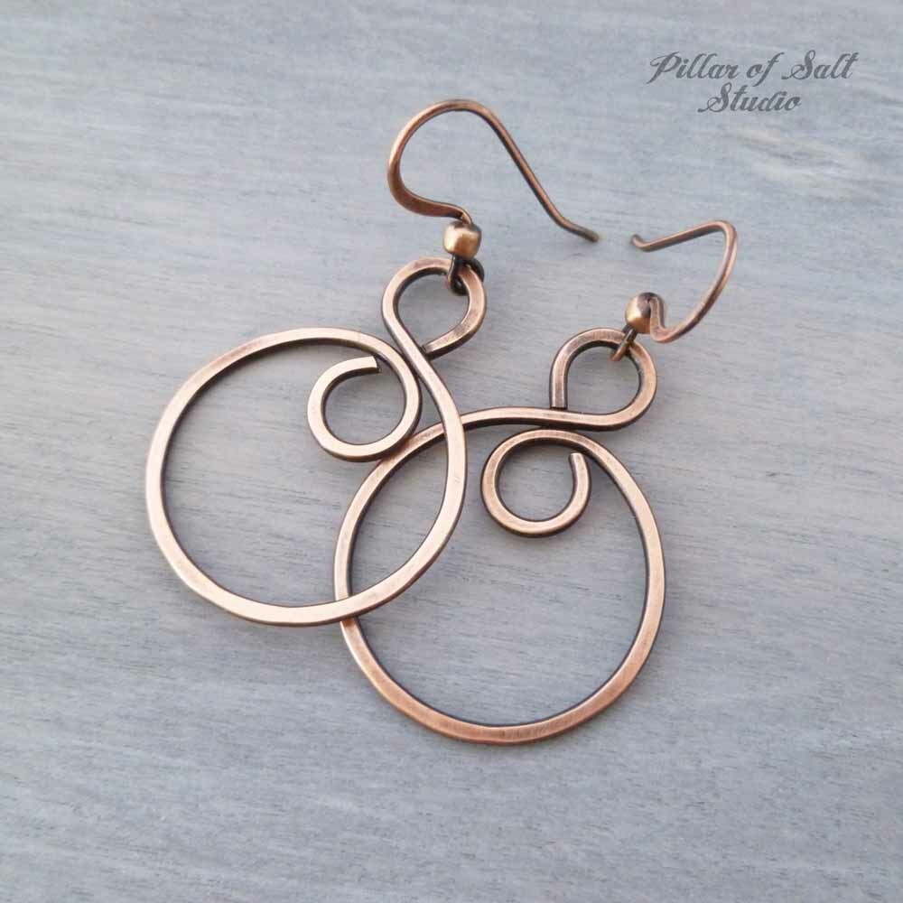 copper hoop earrings by Pillar of Salt Studio