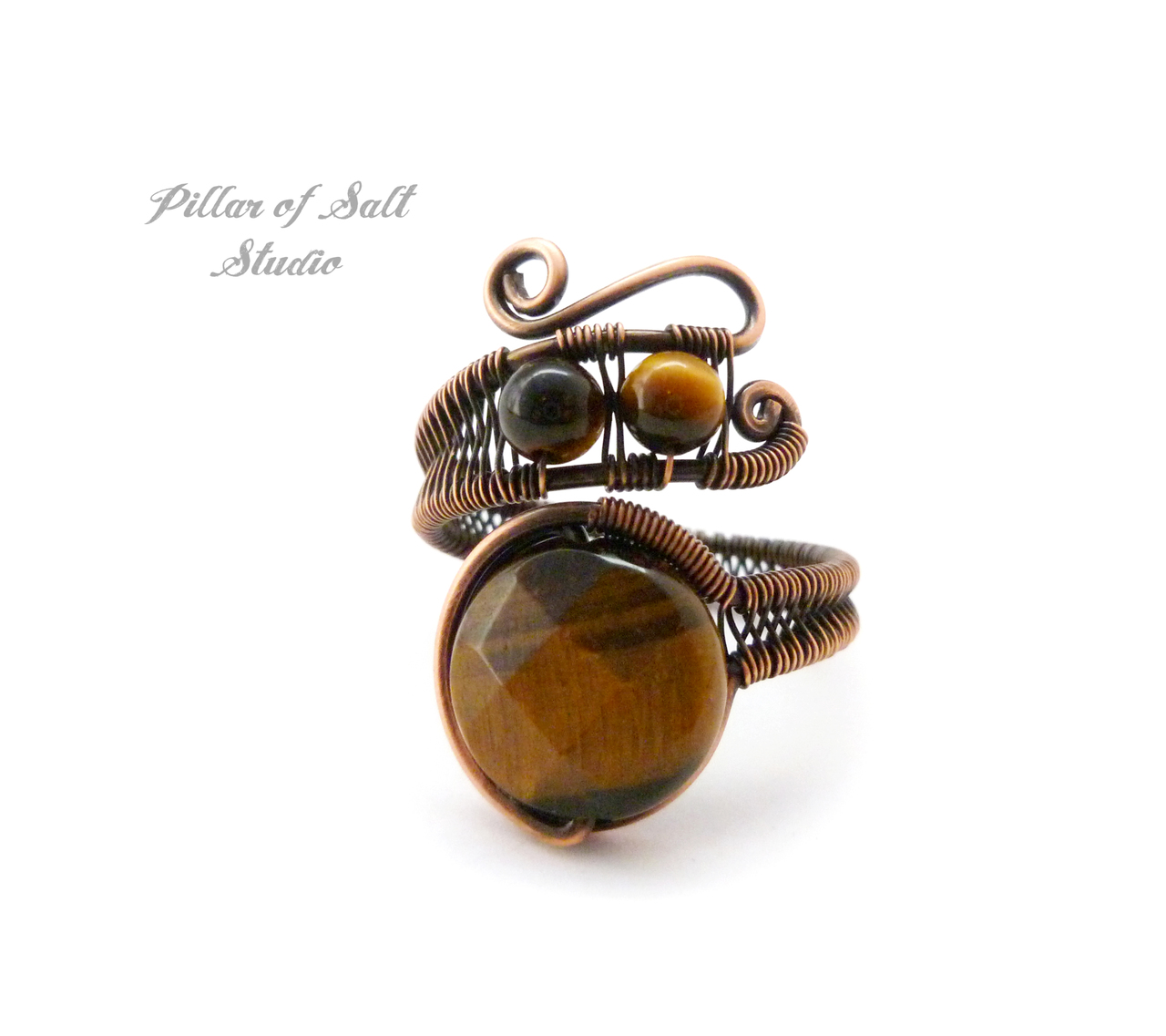 Adjustable copper wire wrapped ring with woven wire band by Pillar of Salt Studio