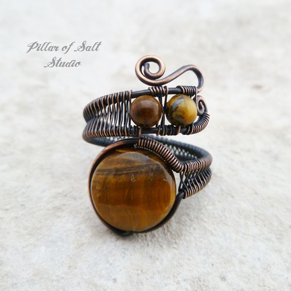 tiger eye adjustable copper wire wrapped ring by Pillar of Salt Studio