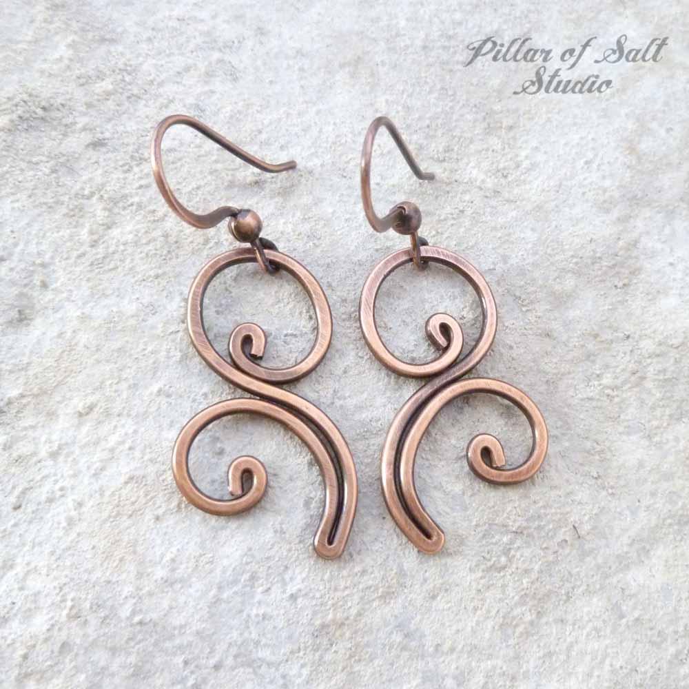 copper wire wrapped flourish earrings / handmade jewelry by Pillar of Salt Studio