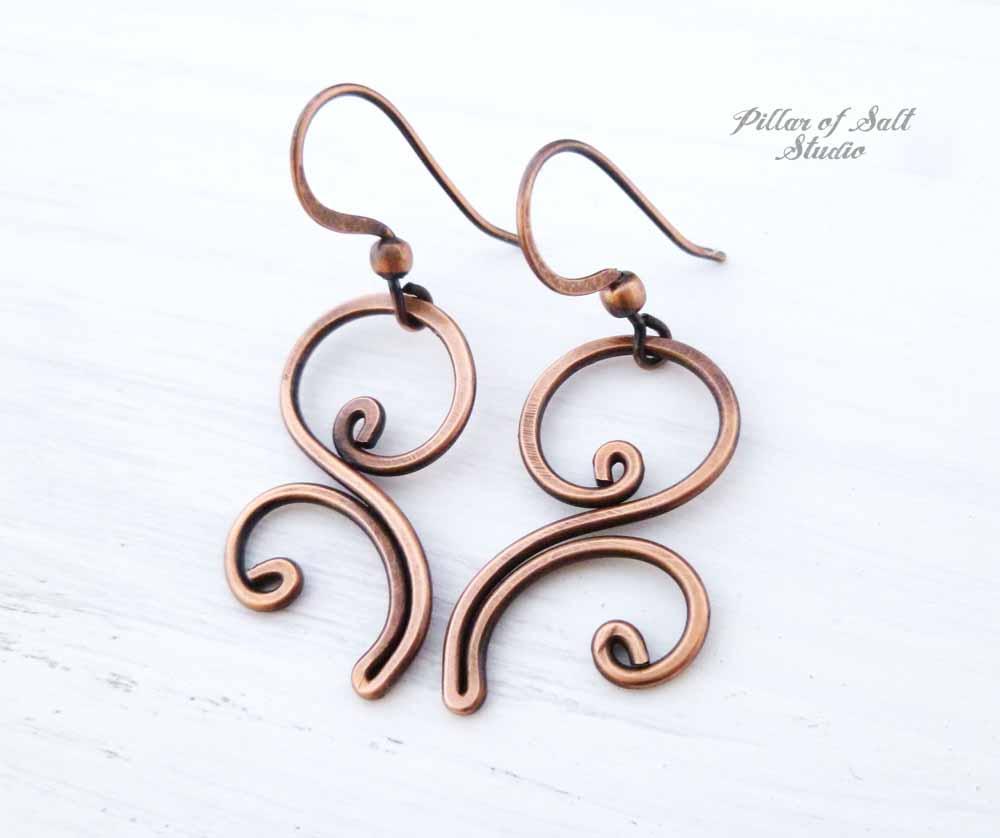 Flourish copper wire earrings