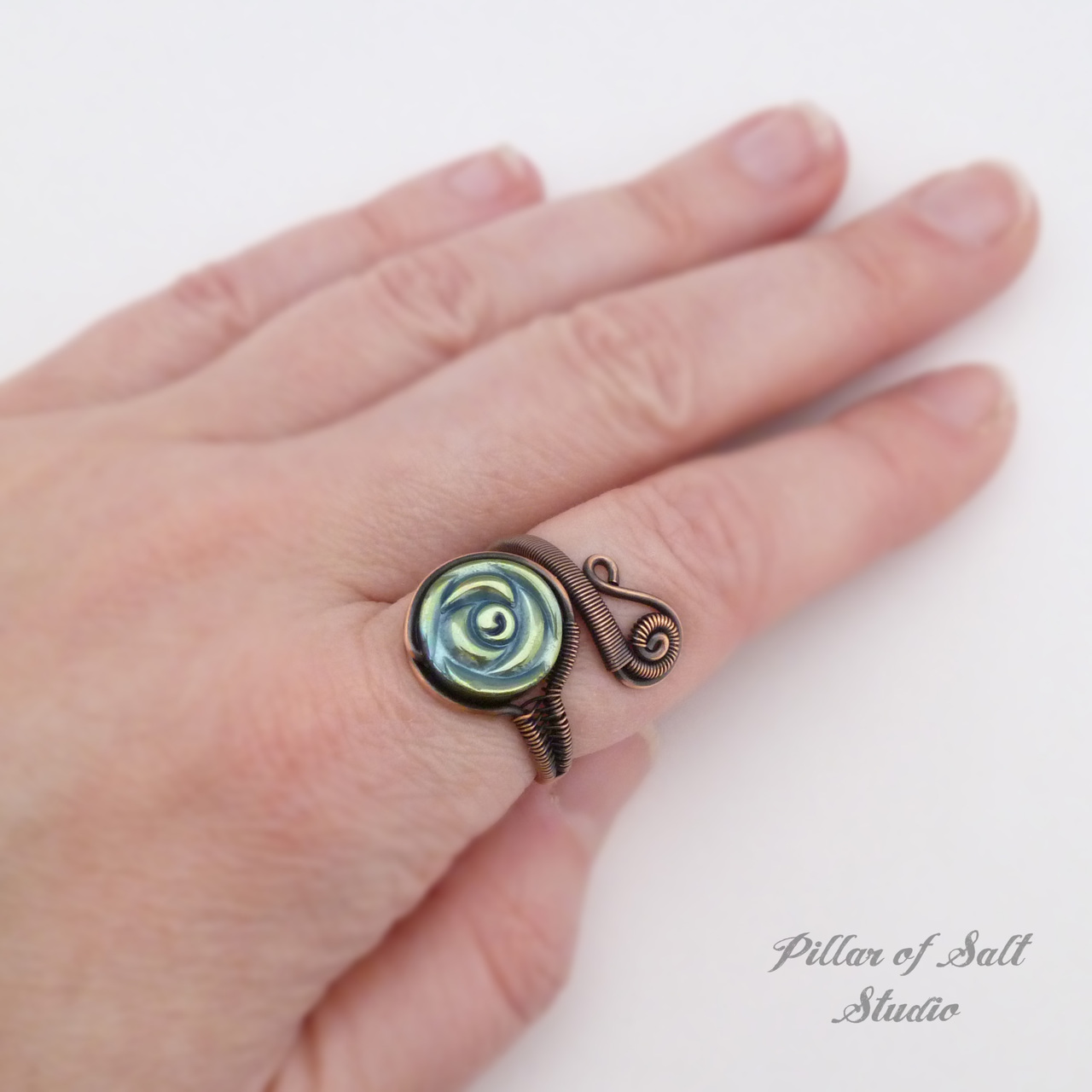 Adjustable copper wire wrapped ring with woven wire band rustic earthy jewelry by Pillar of Salt Studio