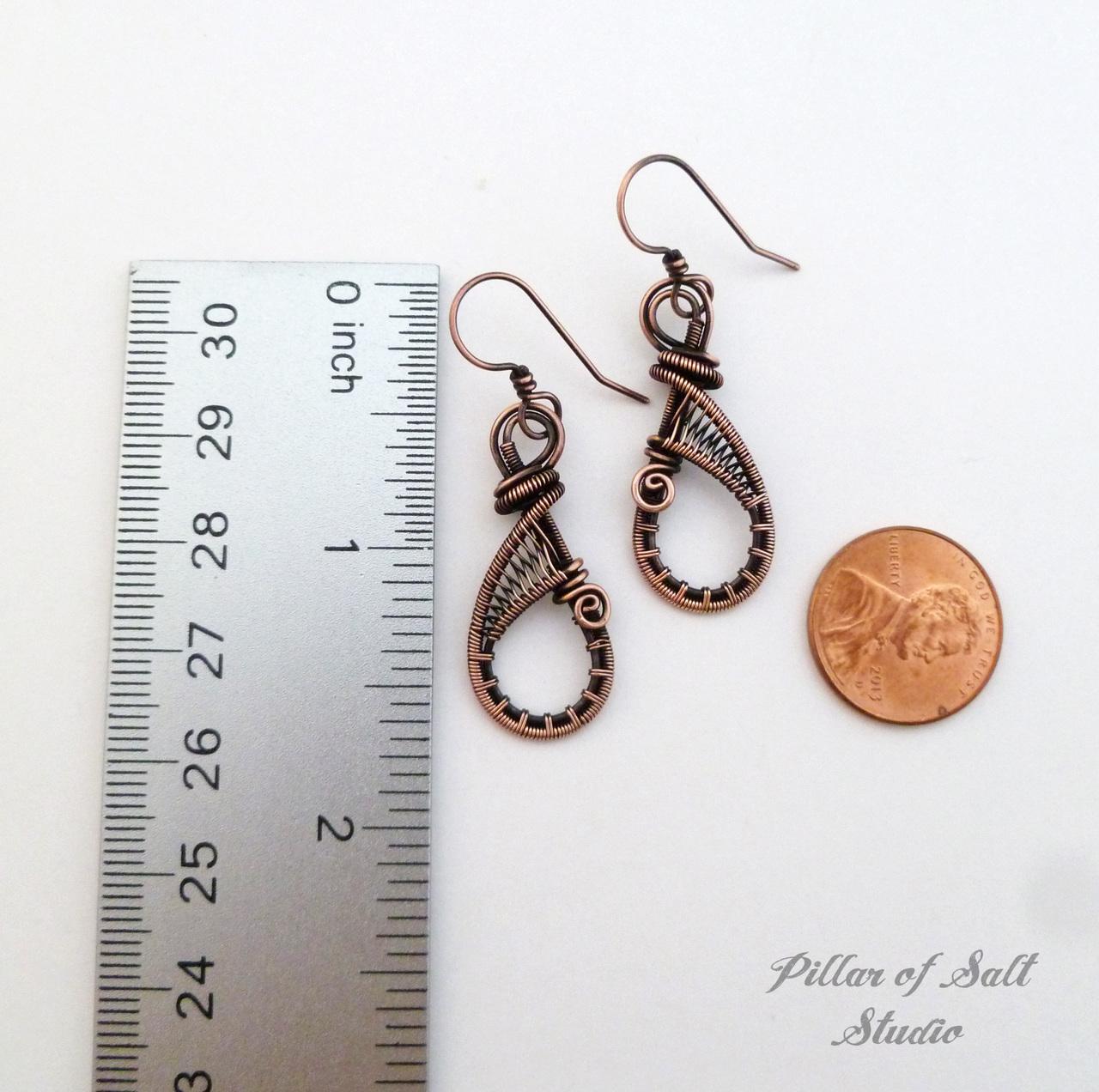 Solid copper woven wire twoven wire teardrop earrings copper jewelry by Pillar of Salt Studioeardrop earrings / earthy jewelry by Pillar of Salt Studio