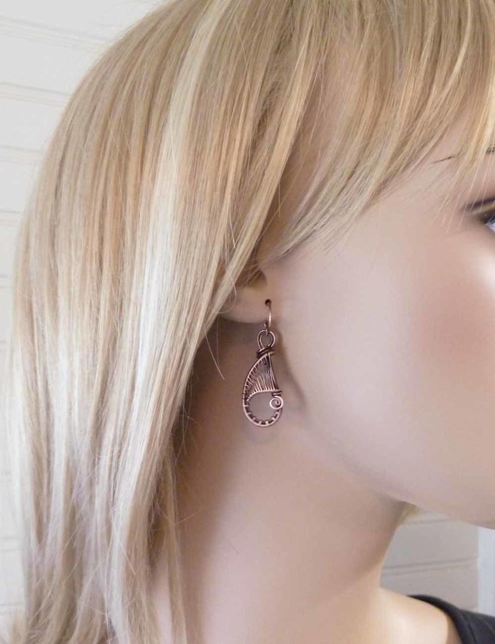 Solid copper woven wire teardrop earrings