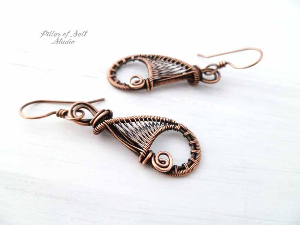 woven wire teardrop earrings copper jewelry by Pillar of Salt Studio