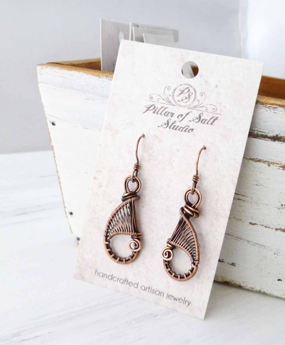 woven wire teardrop earrings copper jewelry by Pillar of Salt Studio