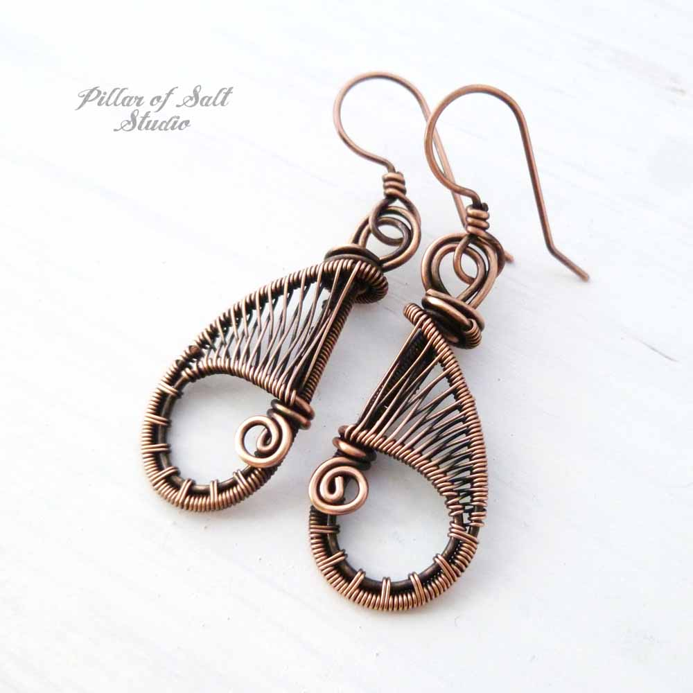 Solid copper woven wire teardrop earrings