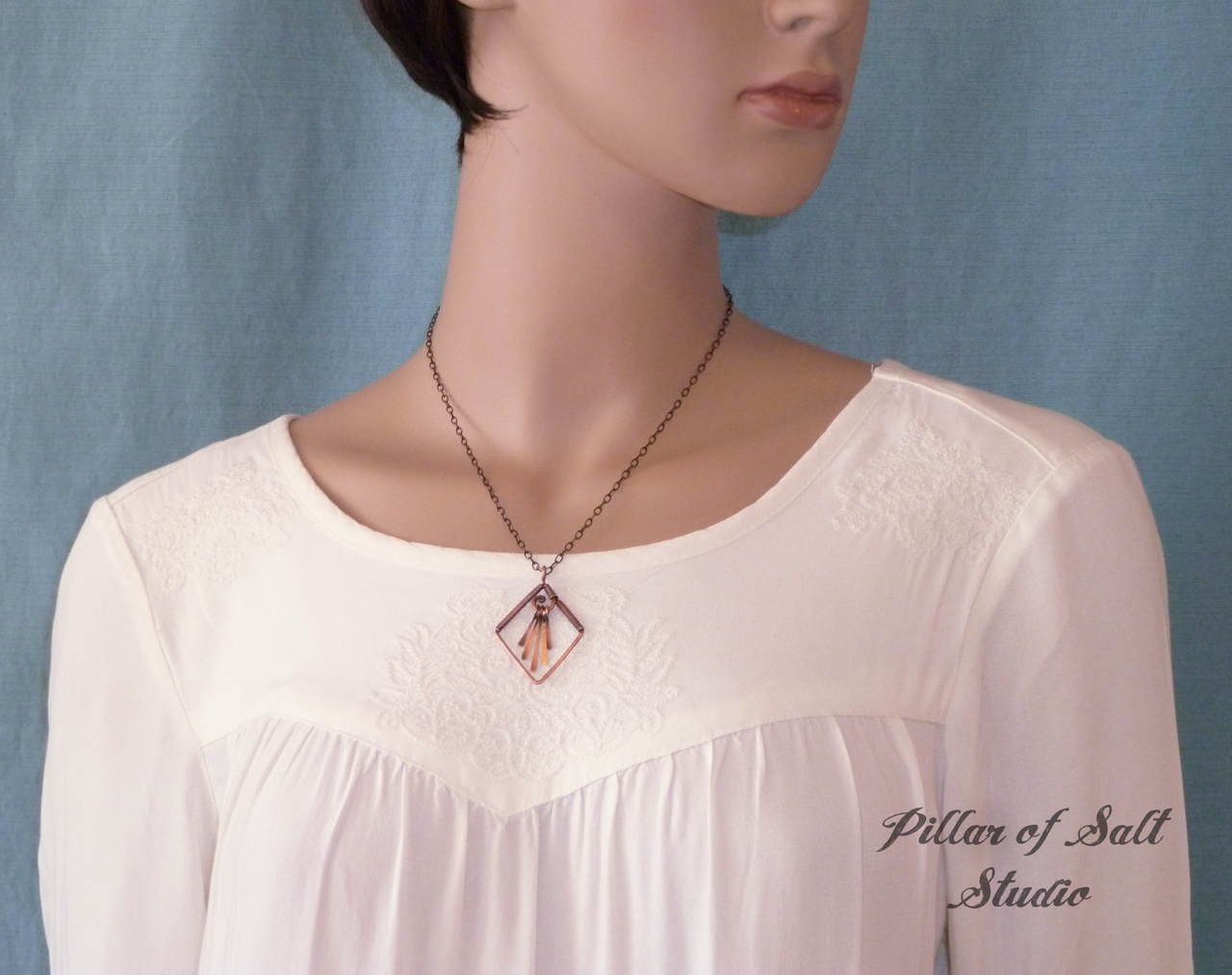 Copper wire wrapped pendant necklace / jewelry by Pillar of Salt Studio