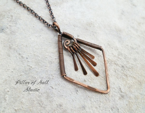 copper wire wrapped fringe necklace Pillar of Salt Studio