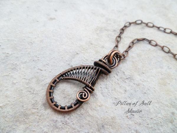 copper wire wrapped teardrop pendant