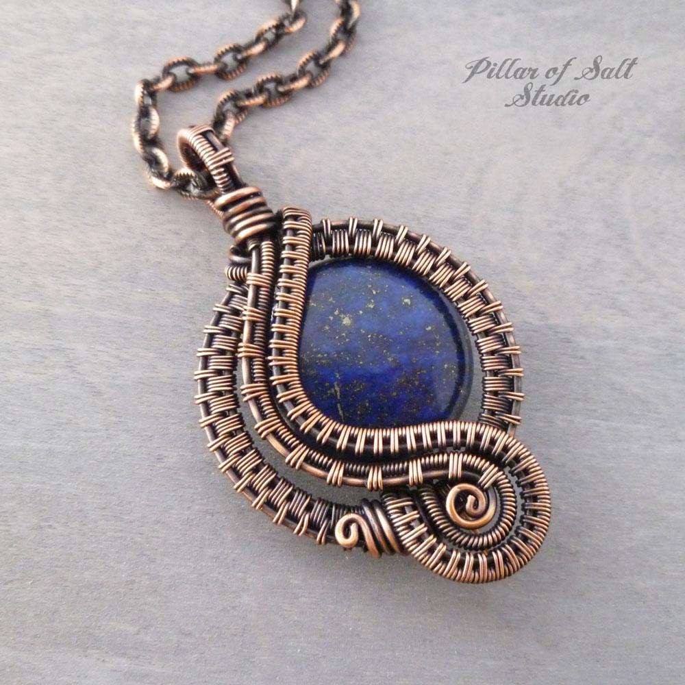 Lapis Lazuli woven copper wire wrapped pendant by Pillar of Salt Studio