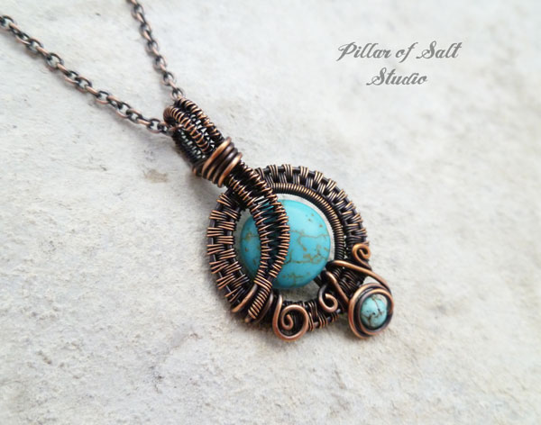 copper wire wrapped pendant necklace by Pillar of Salt Studio