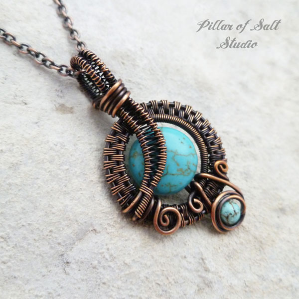 Small Turquoise Magnesite Copper Woven Wire Wrapped Pendant Necklace