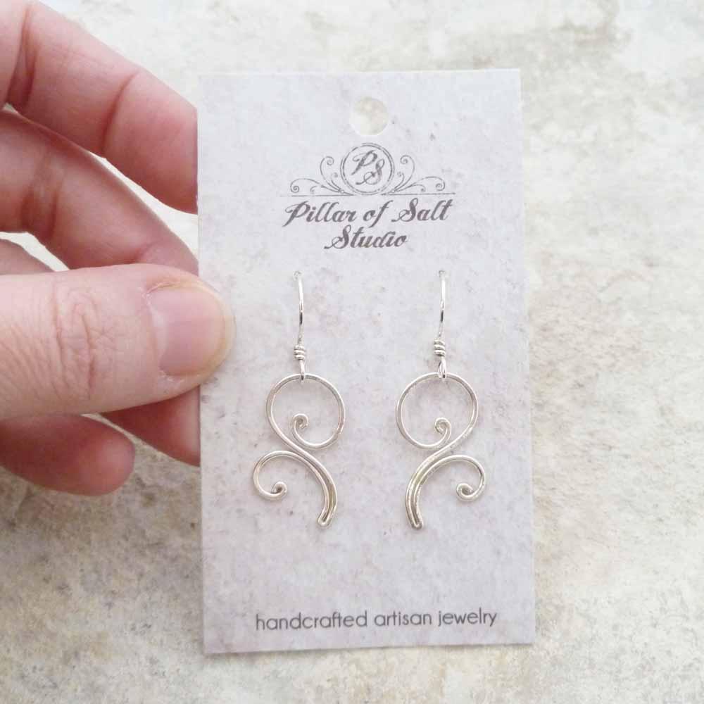 Flourish dangle Sterling Silver wire earrings