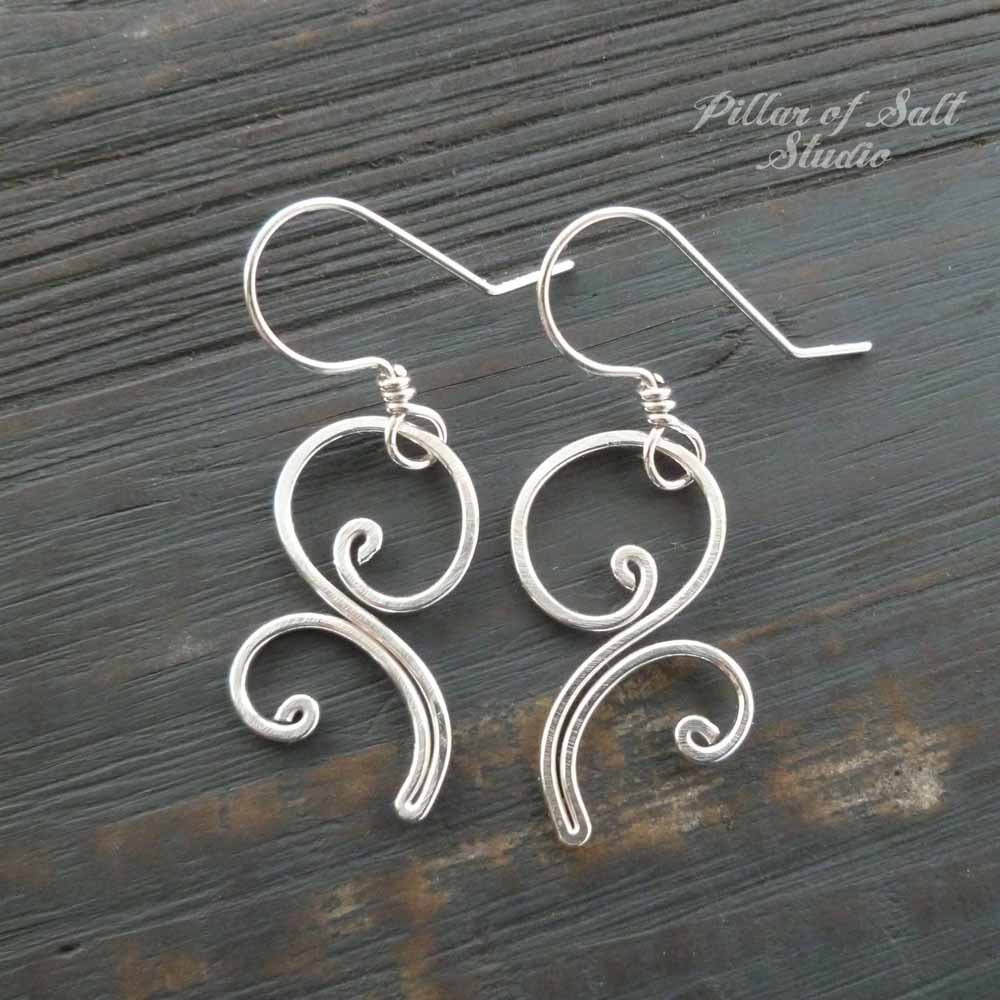 wire wrapped sterling silver earrings / Pillar of Salt Studio handcrafted jewelry