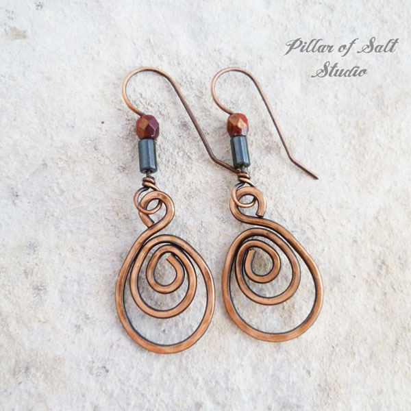 copper wire wrapped earrings with red czech glass and hemalyke beads by Pillar of Salt Studio