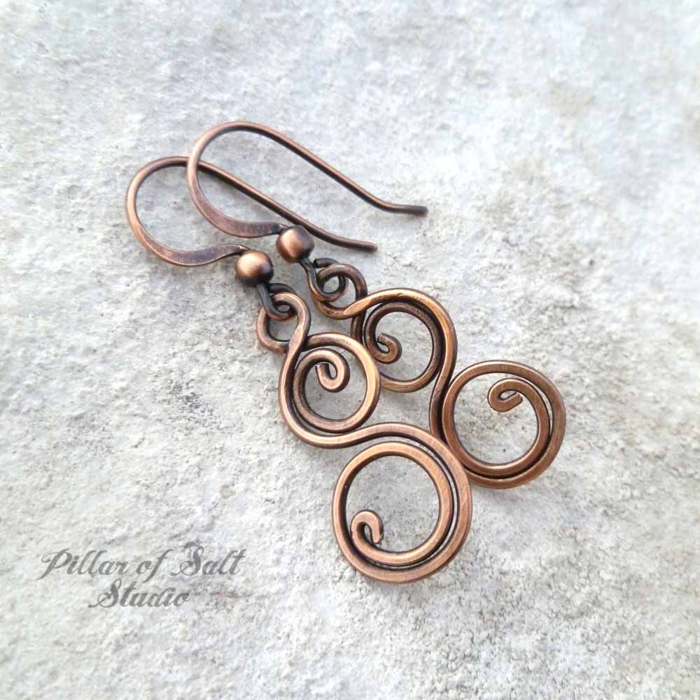 copper wire wrapped jewelry earrings by Pillar of Salt Studio