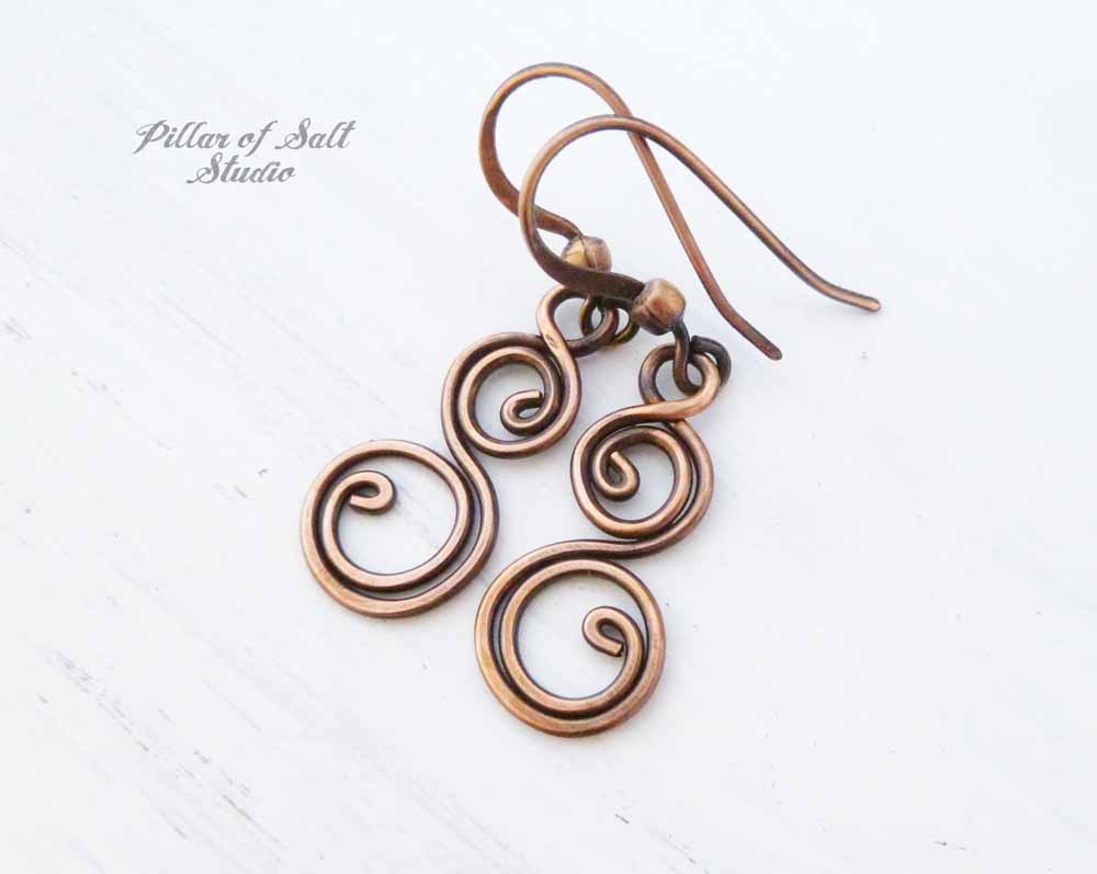 copper wire wrapped spiral earrings by Pillar of Salt Studio