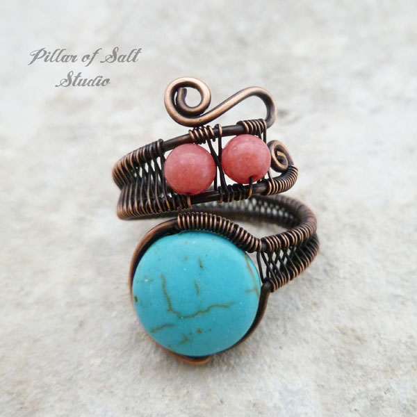 Adjustable Copper Wire wrapped ring with turquoise magnesite beads / Pillar of Salt Studio