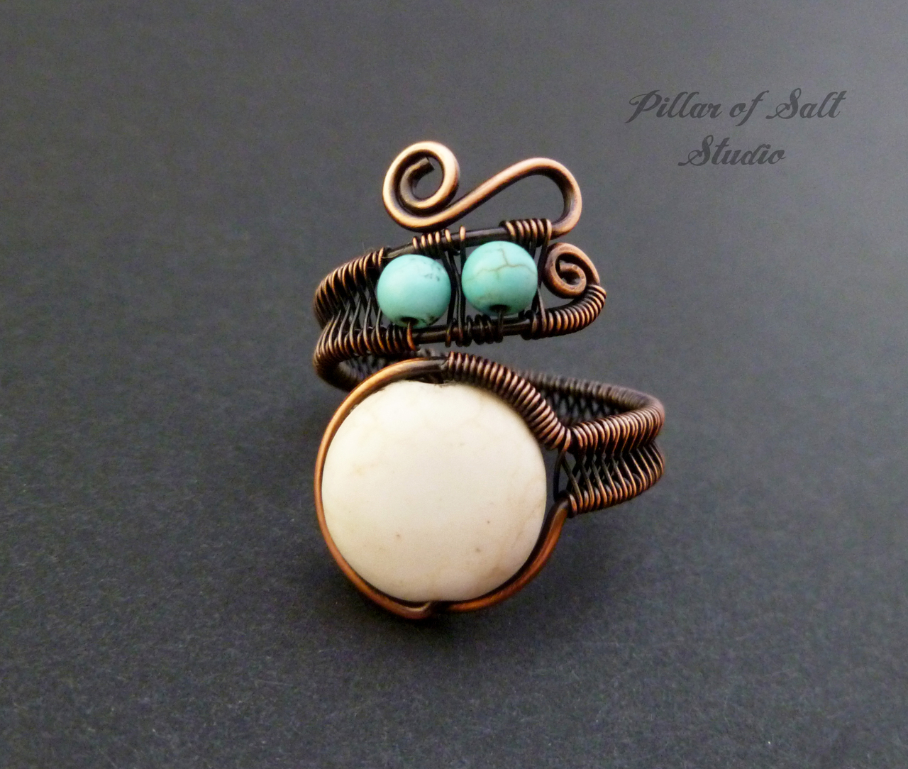 Adjustable Copper Wire wrapped ring with magnesite beads / Pillar of Salt Studio