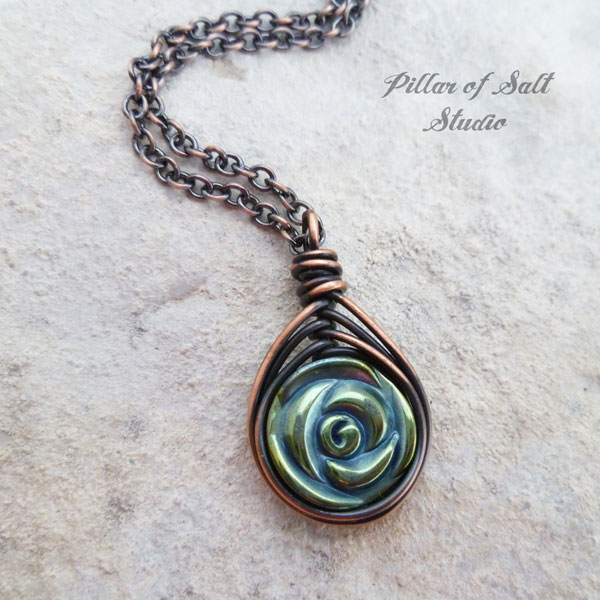 blue-green hematine rose herringbone copper wire wrapped pendant Pillar of Salt Studio