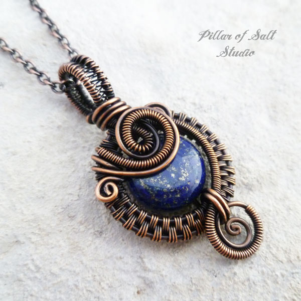 lapis lazuli copper wire wrapped pendant necklace jewelry by Pillar of Salt Studio