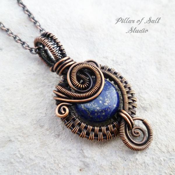 lapis lazuli copper wire wrapped pendant necklace jewelry by Pillar of Salt Studio